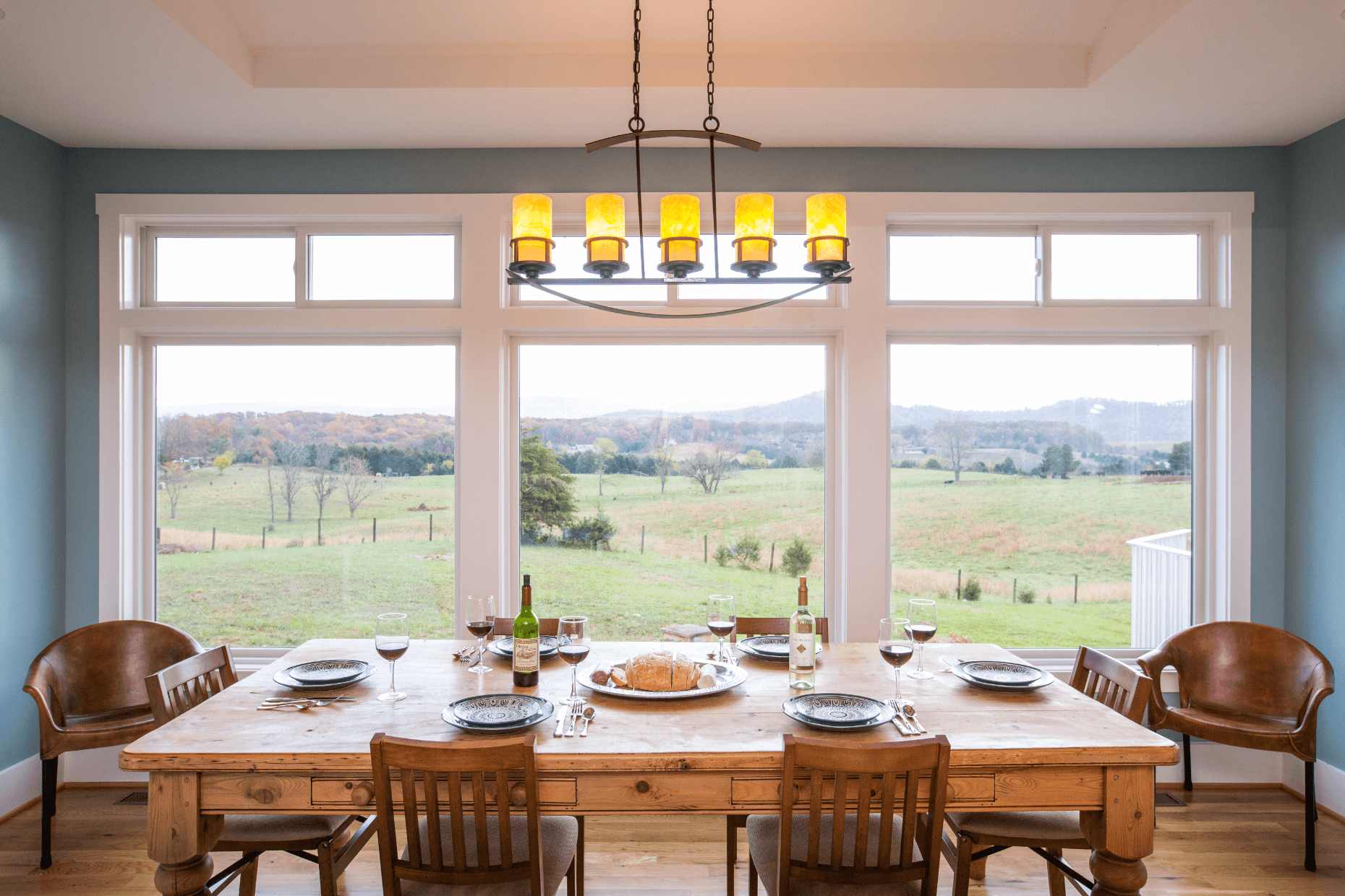 dining room with beautiful view